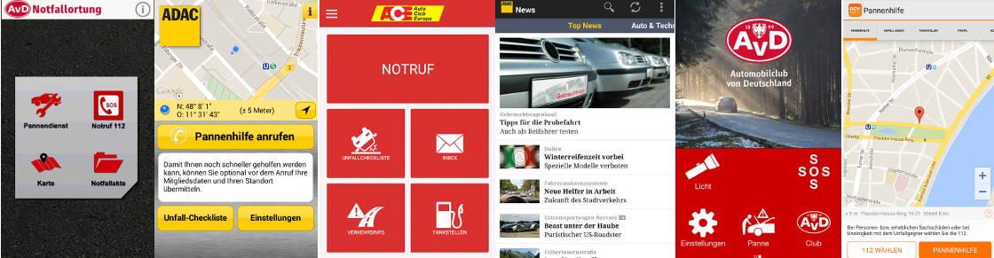 Pannenhilfe Apps der Automobilclubs